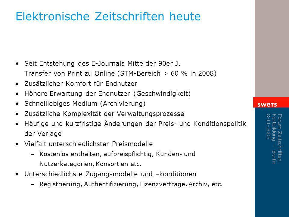 Forum Zeitschriften Fortbildung - Berlin 8-11-2005 Elektronische Zeitschriften heute Seit Entstehung des E-Journals Mitte der 90er J. Transfer von Pri