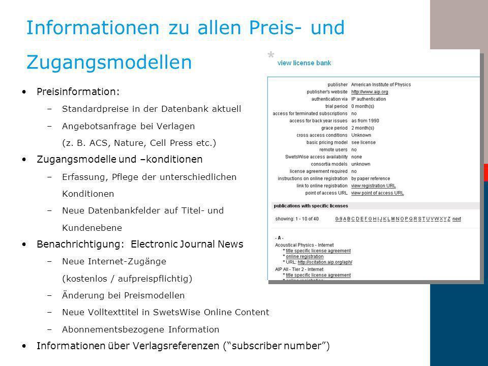 Forum Zeitschriften Fortbildung - Berlin 8-11-2005 Informationen zu allen Preis- und Zugangsmodellen Preisinformation: –Standardpreise in der Datenban