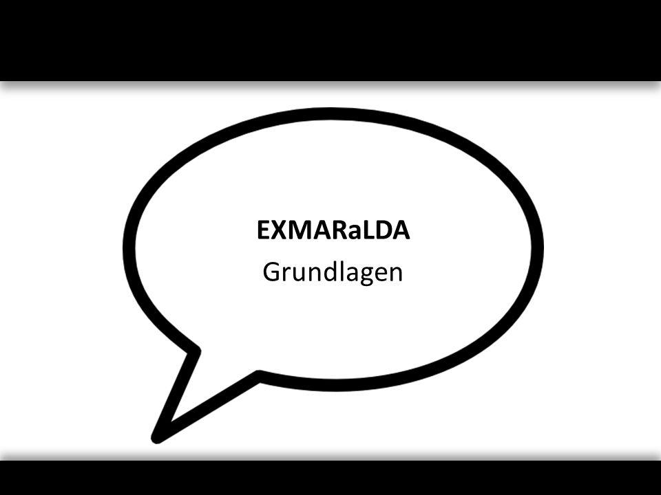 Metadaten-Modell Hauptkomponenten – Liste von Kommunikationen … mit zugehörigen Aufnahmen … mit zugehörigen Transkriptionen – Liste von Sprechern Beschreibungen für jede Komponente – frei wählbare Attribut-Wert-Paare (Description) – einige vorgegebene Datentypen (Language, Location)
