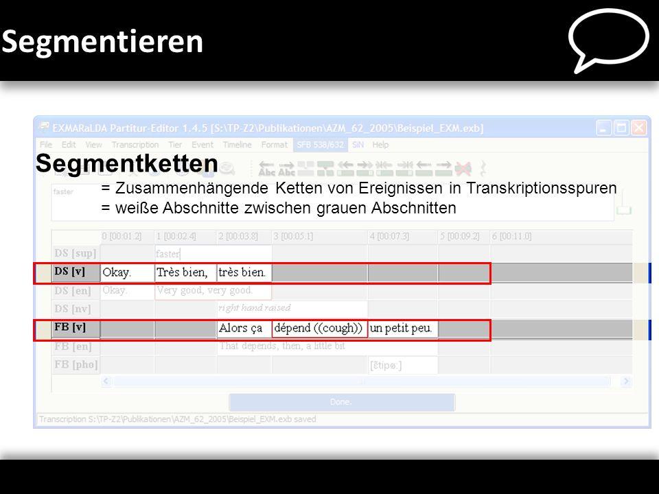 Segmentketten = Zusammenhängende Ketten von Ereignissen in Transkriptionsspuren = weiße Abschnitte zwischen grauen Abschnitten