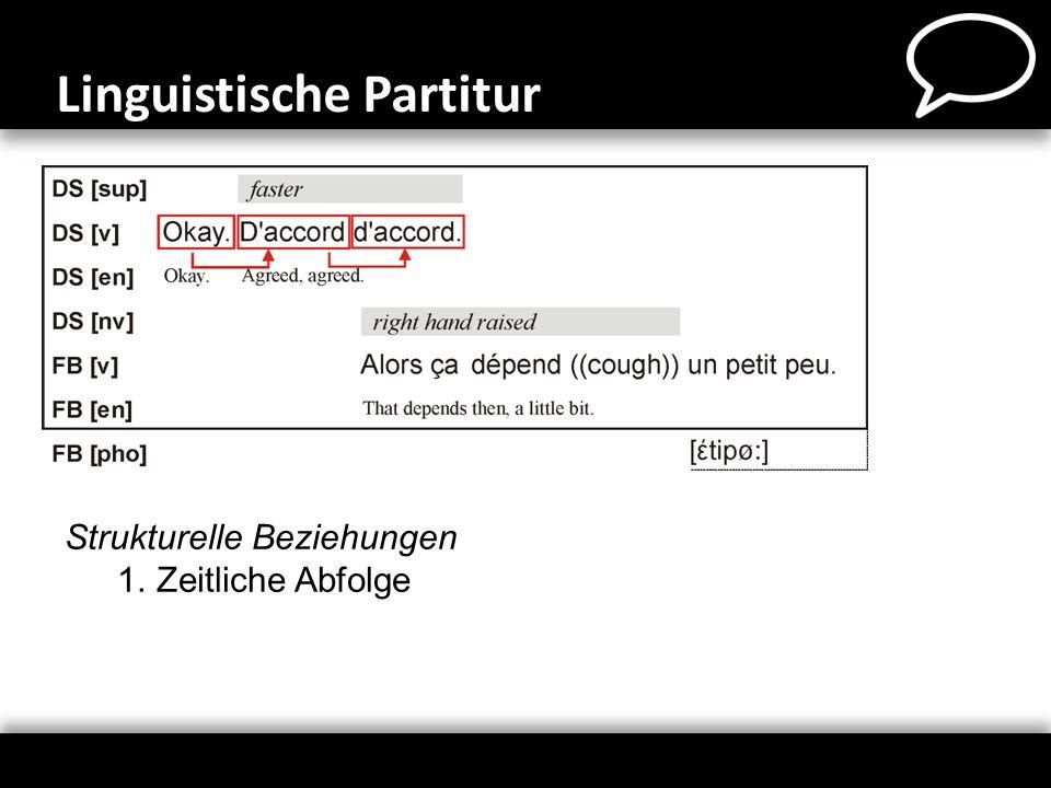Strukturelle Beziehungen 1.Zeitliche Abfolge Linguistische Partitur