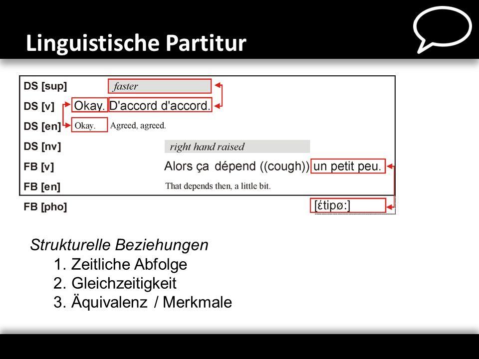 Linguistische Partitur Strukturelle Beziehungen 1.Zeitliche Abfolge 2.Gleichzeitigkeit 3.Äquivalenz / Merkmale