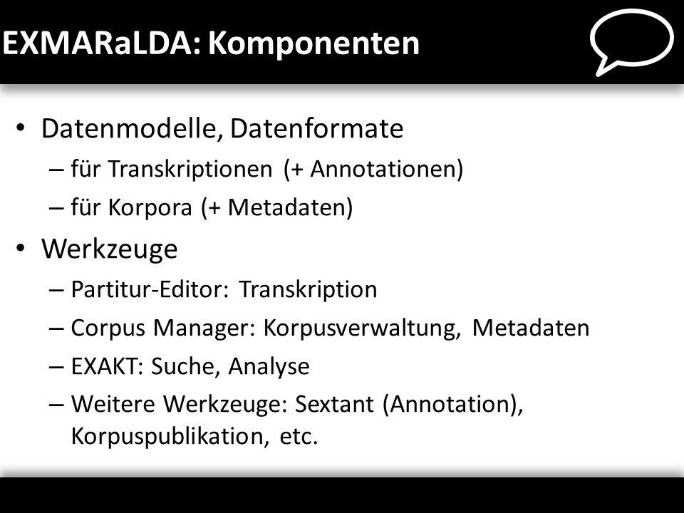 EXMARaLDA: Komponenten Datenmodelle, Datenformate – für Transkriptionen (+ Annotationen) – für Korpora (+ Metadaten) Werkzeuge – Partitur-Editor: Tran