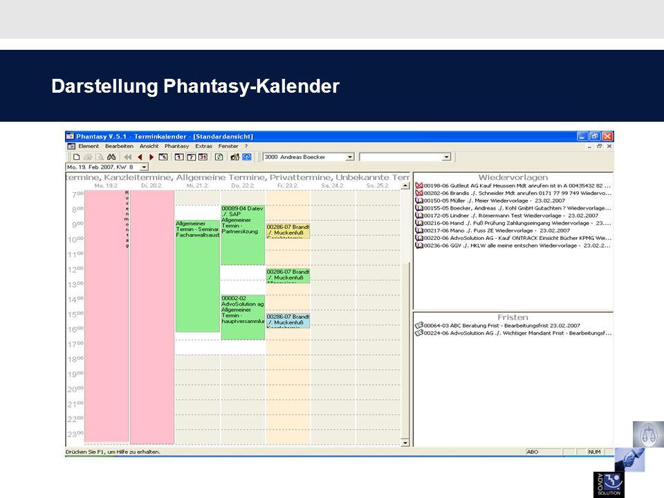 Darstellung aller Termine und Aufgaben in der Todo-Liste Zusätzlich werden Notizen, Aufgaben und Rückrufe angezeigt Termine, Fristen und Wiedervorlagen werden angezeigt Jeder Nutzer sieht nur die individuell ausgewählten Personen