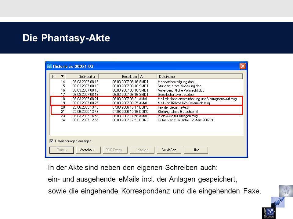 Arbeitsablauf Mobile Akte by AdvoSolution Die Auswahl der Akte erfolgt über die bekannten Phantasy-Dialoge.
