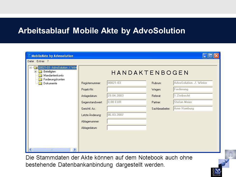 Arbeitsablauf Mobile Akte by AdvoSolution Die Stammdaten der Adresse wie zum Beispiel die Anschrift und die Rufnummern sind einsehbar.