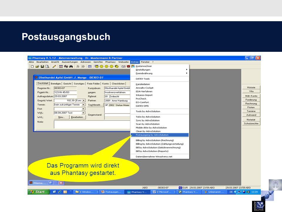 Scannen des Postausgangs Der Barcode verweist auf den Empfänger, die Akte und das Dokument.