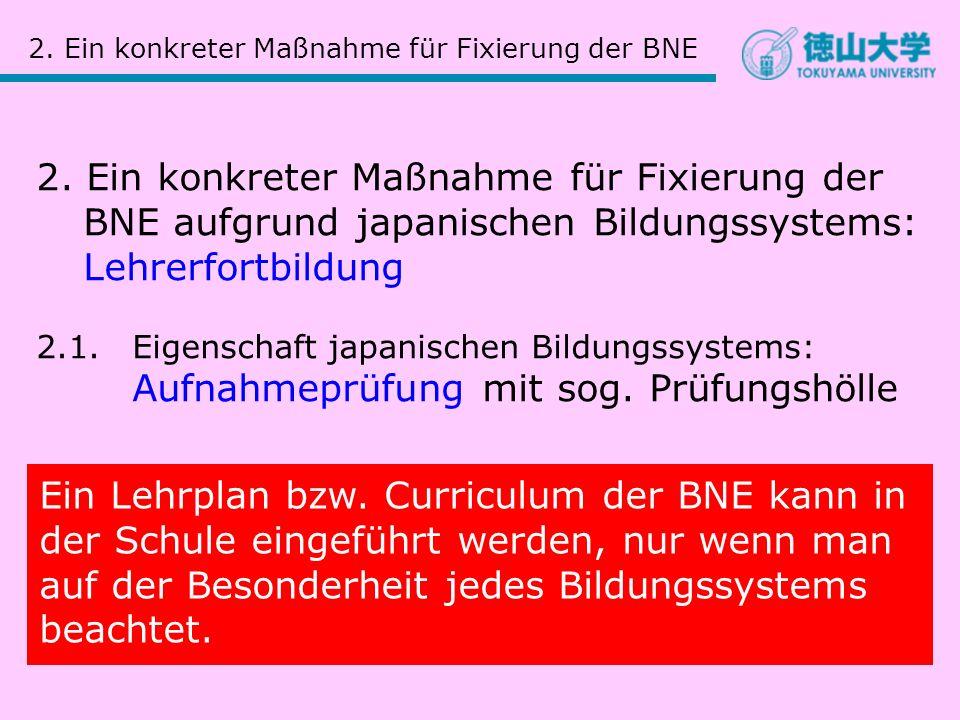 2. Ein konkreter Maßnahme für Fixierung der BNE 2. Ein konkreter Maßnahme für Fixierung der BNE aufgrund japanischen Bildungssystems: Lehrerfortbildun