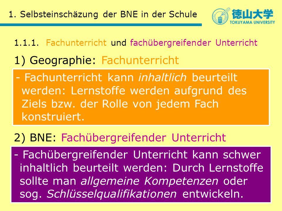 1. Selbsteinschäzung der BNE in der Schule 1.1.1. Fachunterricht und fachübergreifender Unterricht 1) Geographie: Fachunterricht 2) BNE: Fachübergreif