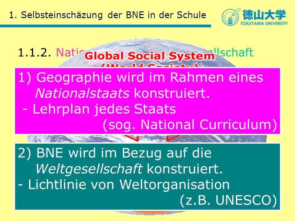 1.1.2. Nationalstaat und Weltgesellschaft 1. Selbsteinschäzung der BNE in der Schule 2) BNE wird im Bezug auf die Weltgesellschaft konstruiert. - Lich