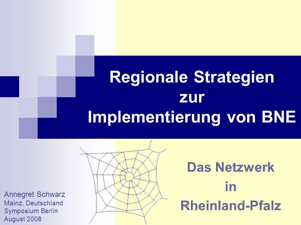 Regional Strategies for Implementing ESD Annegret Schwarz Außerschulische Partner Schulnetzwerke Fachberaterteam BNE Regierung Informationen Fortbildungen BNE in Rheinland-Pfalz