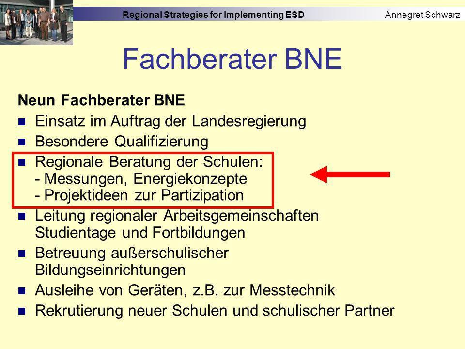 Regional Strategies for Implementing ESD Annegret Schwarz Schulnetzwerke 3.