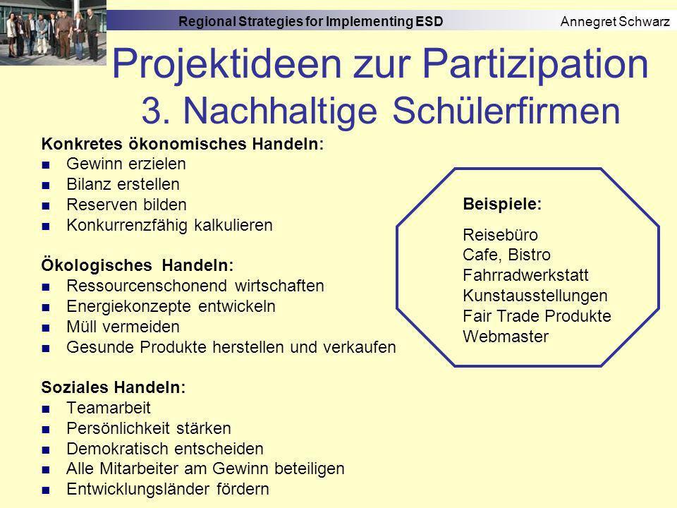 Regional Strategies for Implementing ESD Annegret Schwarz Projektideen zur Partizipation 4.