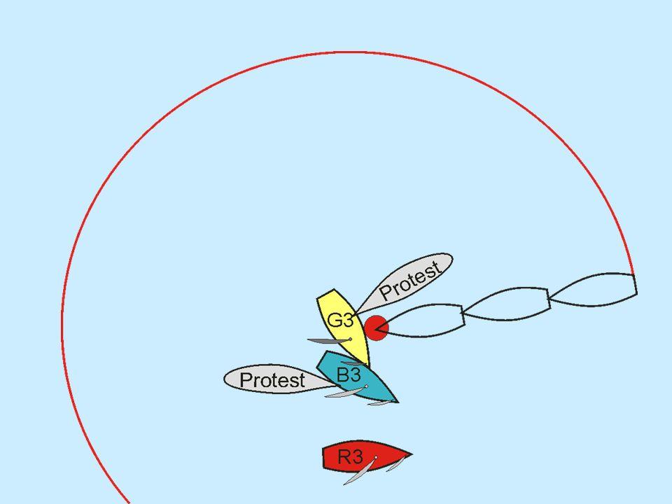 Überlappten die Boote beim Eintritt in die Zone.G und B..