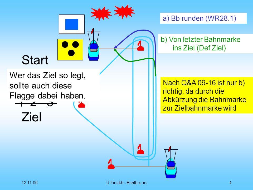 12.11.06U.Finckh - Breitbrunn4 Start 12 3 1 3 1 Ziel a) Bb runden (WR28.1) b) Von letzter Bahnmarke ins Ziel (Def Ziel) Wer das Ziel so legt, sollte auch diese Flagge dabei haben.