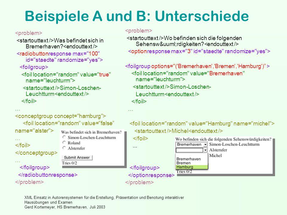 XML Einsatz in Autorensystemen für die Erstellung, Präsentation und Benotung interaktiver Hausübungen und Examen Gerd Kortemeyer, HS Bremerhaven, Juli 2003 Beispiele A und B: Unterschiede Was befindet sich in Bremerhaven.