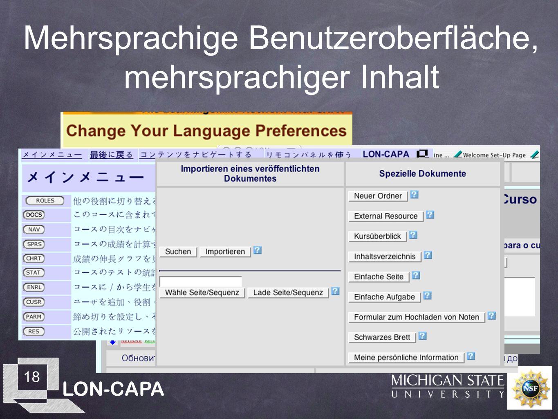 LON-CAPA 18 Mehrsprachige Benutzeroberfläche, mehrsprachiger Inhalt