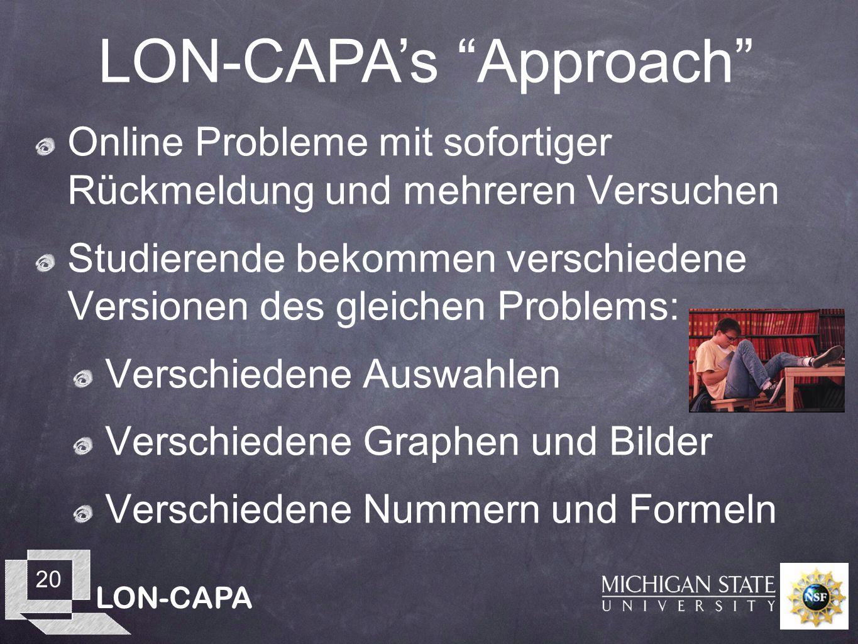 LON-CAPA 20 Online Probleme mit sofortiger Rückmeldung und mehreren Versuchen Studierende bekommen verschiedene Versionen des gleichen Problems: Verschiedene Auswahlen Verschiedene Graphen und Bilder Verschiedene Nummern und Formeln LON-CAPAs Approach