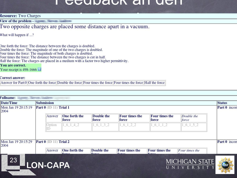 LON-CAPA 23 Feedback an den Lehrenden