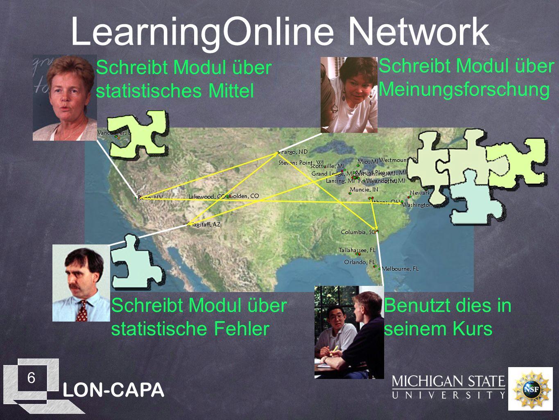 LON-CAPA 6 LearningOnline Network Schreibt Modul über statistisches Mittel Schreibt Modul über statistische Fehler Schreibt Modul über Meinungsforschung Benutzt dies in seinem Kurs