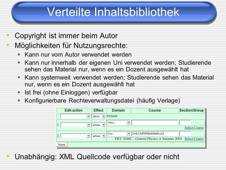Verteilte Inhaltsbibliothek Copyright ist immer beim Autor Möglichkeiten für Nutzungsrechte: Kann nur vom Autor verwendet werden Kann nur innerhalb de