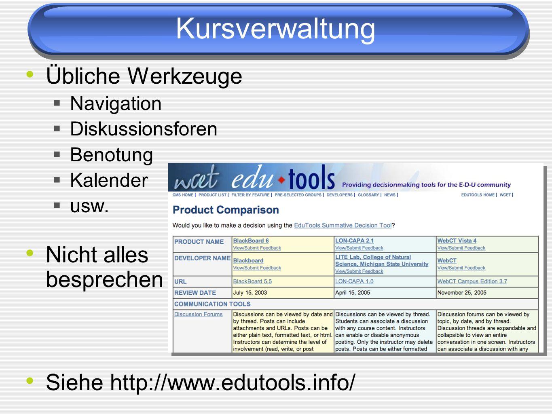 Kursverwaltung Übliche Werkzeuge Navigation Diskussionsforen Benotung Kalender usw. Nicht alles besprechen Siehe http://www.edutools.info/