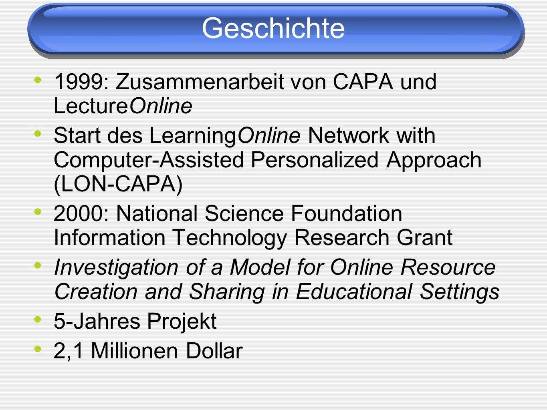 Geschichte 1999: Zusammenarbeit von CAPA und LectureOnline Start des LearningOnline Network with Computer-Assisted Personalized Approach (LON-CAPA) 20