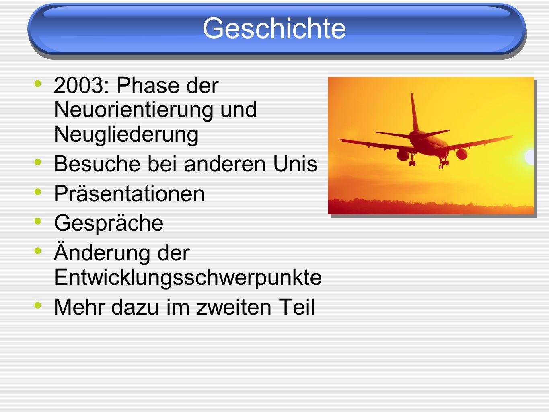 Geschichte 2003: Phase der Neuorientierung und Neugliederung Besuche bei anderen Unis Präsentationen Gespräche Änderung der Entwicklungsschwerpunkte M