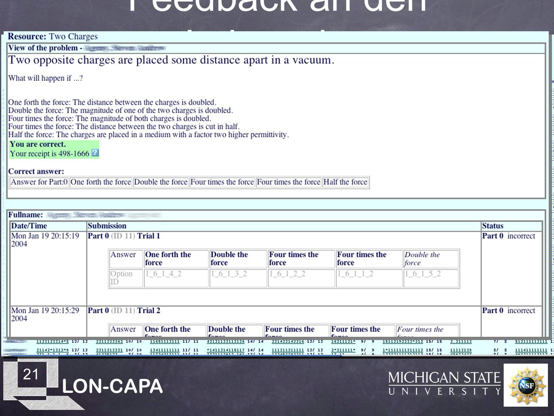 LON-CAPA 21 Feedback an den Lehrenden