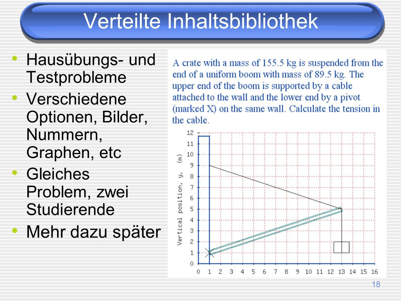 18 Hausübungs- und Testprobleme Verschiedene Optionen, Bilder, Nummern, Graphen, etc Gleiches Problem, zwei Studierende Mehr dazu später Verteilte Inh