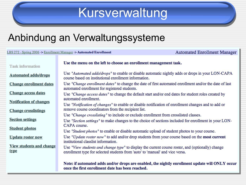Kursverwaltung Anbindung an Verwaltungssysteme