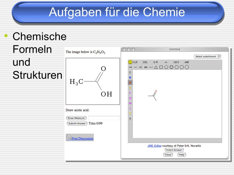 Aufgaben für die Chemie Chemische Formeln und Strukturen