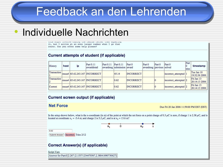 Individuelle Nachrichten Feedback an den Lehrenden