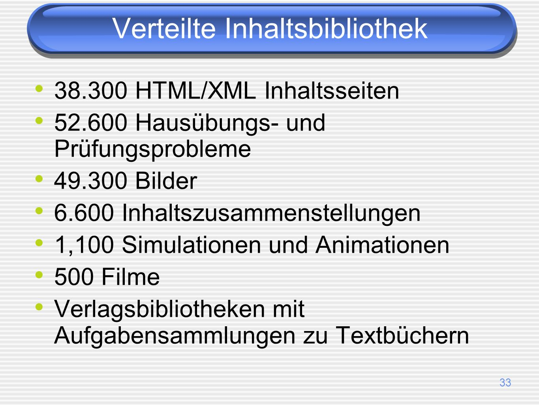 33 38.300 HTML/XML Inhaltsseiten 52.600 Hausübungs- und Prüfungsprobleme 49.300 Bilder 6.600 Inhaltszusammenstellungen 1,100 Simulationen und Animationen 500 Filme Verlagsbibliotheken mit Aufgabensammlungen zu Textbüchern Verteilte Inhaltsbibliothek