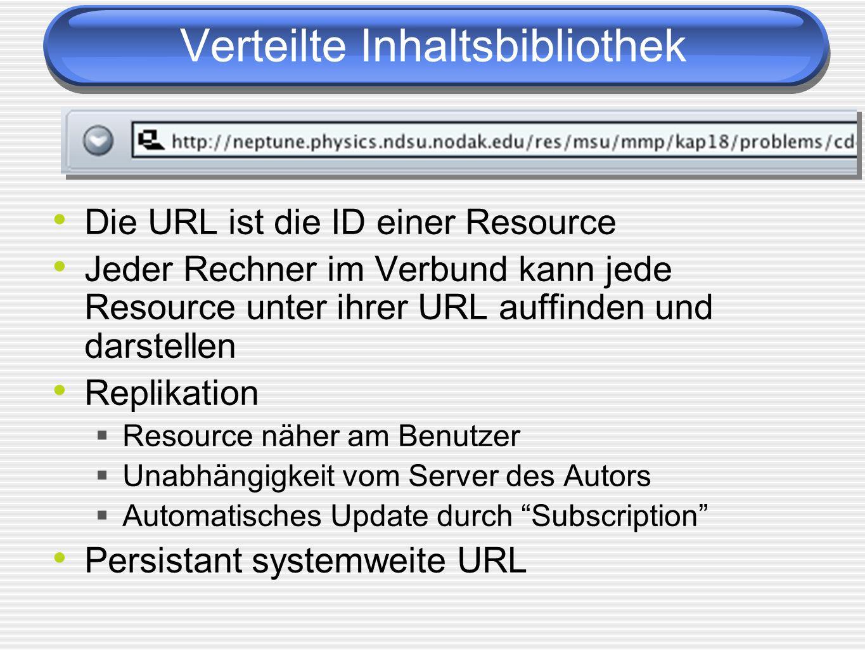 Die URL ist die ID einer Resource Jeder Rechner im Verbund kann jede Resource unter ihrer URL auffinden und darstellen Replikation Resource näher am Benutzer Unabhängigkeit vom Server des Autors Automatisches Update durch Subscription Persistant systemweite URL