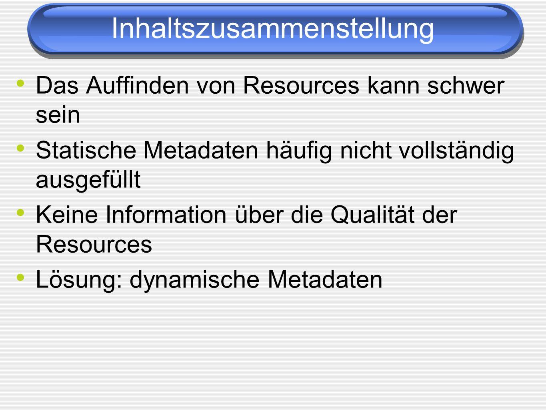 Inhaltszusammenstellung Das Auffinden von Resources kann schwer sein Statische Metadaten häufig nicht vollständig ausgefüllt Keine Information über die Qualität der Resources Lösung: dynamische Metadaten