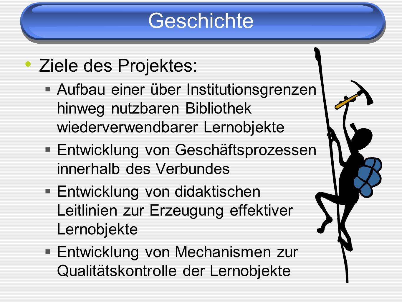 Geschichte Ziele des Projektes: Aufbau einer über Institutionsgrenzen hinweg nutzbaren Bibliothek wiederverwendbarer Lernobjekte Entwicklung von Geschäftsprozessen innerhalb des Verbundes Entwicklung von didaktischen Leitlinien zur Erzeugung effektiver Lernobjekte Entwicklung von Mechanismen zur Qualitätskontrolle der Lernobjekte