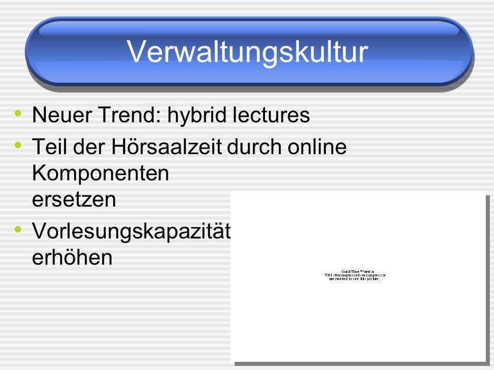 Verwaltungskultur Neuer Trend: hybrid lectures Teil der Hörsaalzeit durch online Komponenten ersetzen Vorlesungskapazität erhöhen