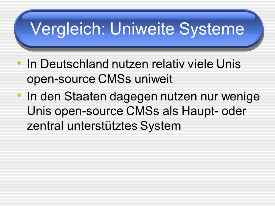 Vergleich: Uniweite Systeme In Deutschland nutzen relativ viele Unis open-source CMSs uniweit In den Staaten dagegen nutzen nur wenige Unis open-source CMSs als Haupt- oder zentral unterstütztes System