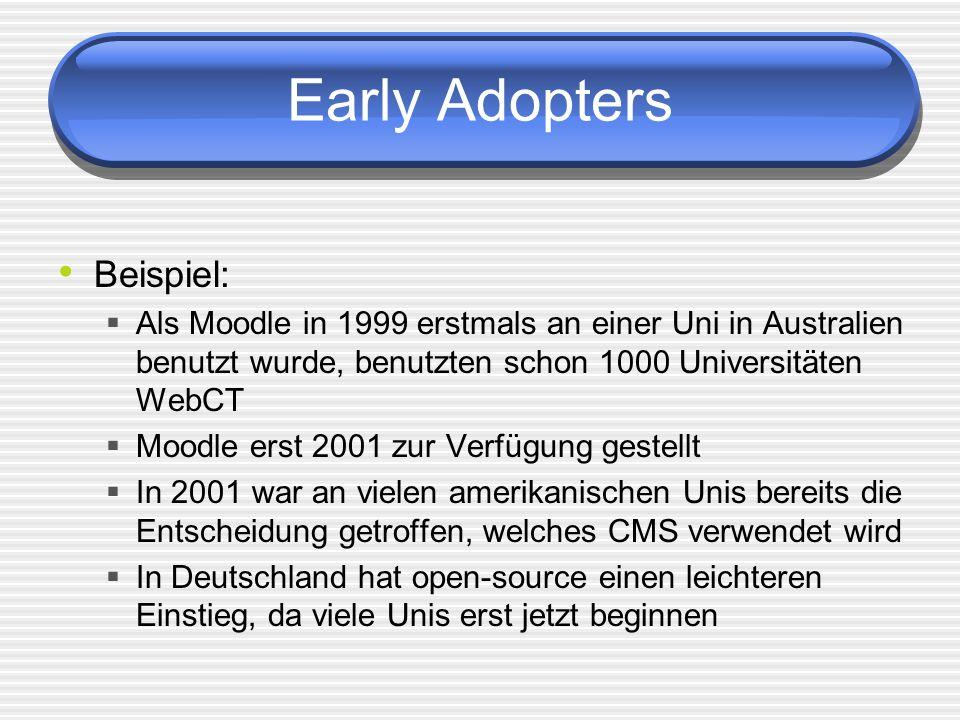 Early Adopters Beispiel: Als Moodle in 1999 erstmals an einer Uni in Australien benutzt wurde, benutzten schon 1000 Universitäten WebCT Moodle erst 2001 zur Verfügung gestellt In 2001 war an vielen amerikanischen Unis bereits die Entscheidung getroffen, welches CMS verwendet wird In Deutschland hat open-source einen leichteren Einstieg, da viele Unis erst jetzt beginnen