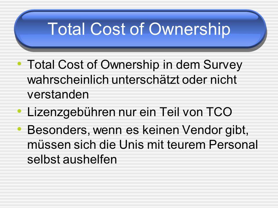 Total Cost of Ownership Total Cost of Ownership in dem Survey wahrscheinlich unterschätzt oder nicht verstanden Lizenzgebühren nur ein Teil von TCO Besonders, wenn es keinen Vendor gibt, müssen sich die Unis mit teurem Personal selbst aushelfen