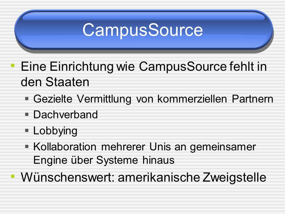 CampusSource Eine Einrichtung wie CampusSource fehlt in den Staaten Gezielte Vermittlung von kommerziellen Partnern Dachverband Lobbying Kollaboration mehrerer Unis an gemeinsamer Engine über Systeme hinaus Wünschenswert: amerikanische Zweigstelle