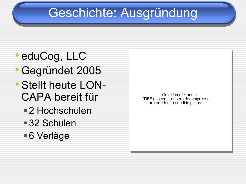 Geschichte: Ausgründung eduCog, LLC Gegründet 2005 Stellt heute LON- CAPA bereit für 2 Hochschulen 32 Schulen 6 Verläge