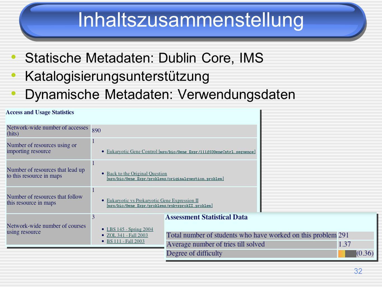 32 Statische Metadaten: Dublin Core, IMS Katalogisierungsunterstützung Dynamische Metadaten: Verwendungsdaten Inhaltszusammenstellung