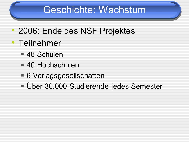 Geschichte: Wachstum 2006: Ende des NSF Projektes Teilnehmer 48 Schulen 40 Hochschulen 6 Verlagsgesellschaften Über 30.000 Studierende jedes Semester