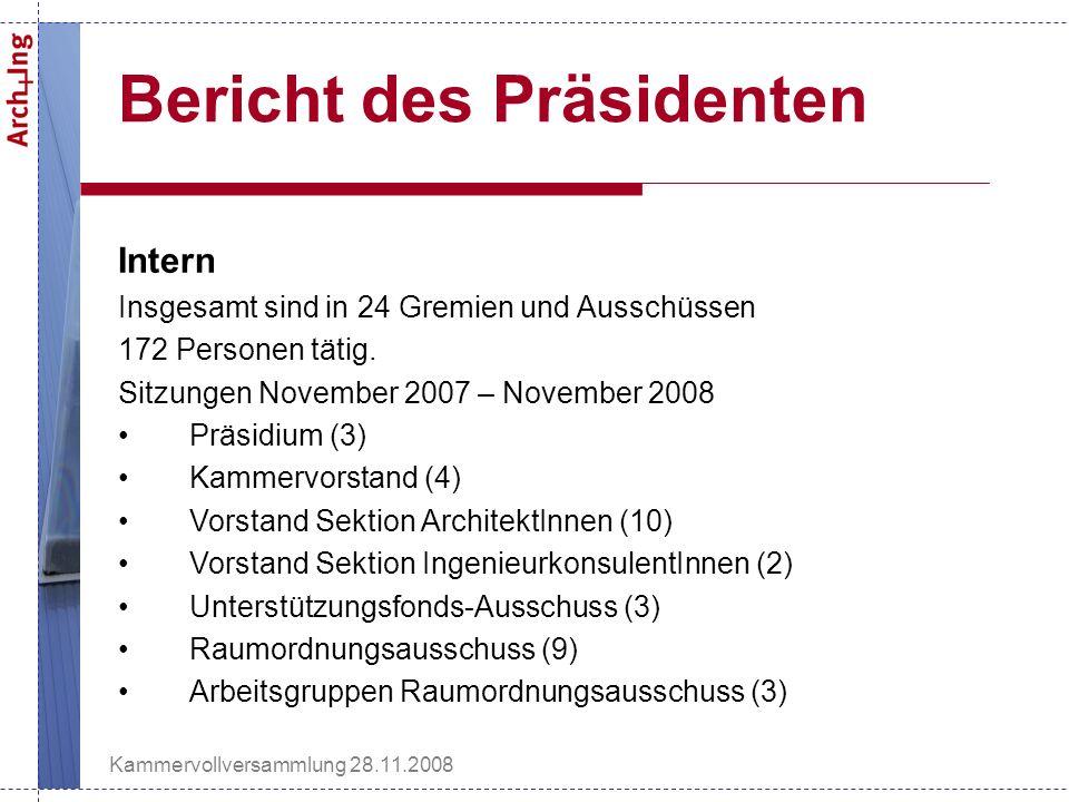 Kammervollversammlung 28.11.2008 Bericht des Präsidenten Intern Insgesamt sind in 24 Gremien und Ausschüssen 172 Personen tätig.