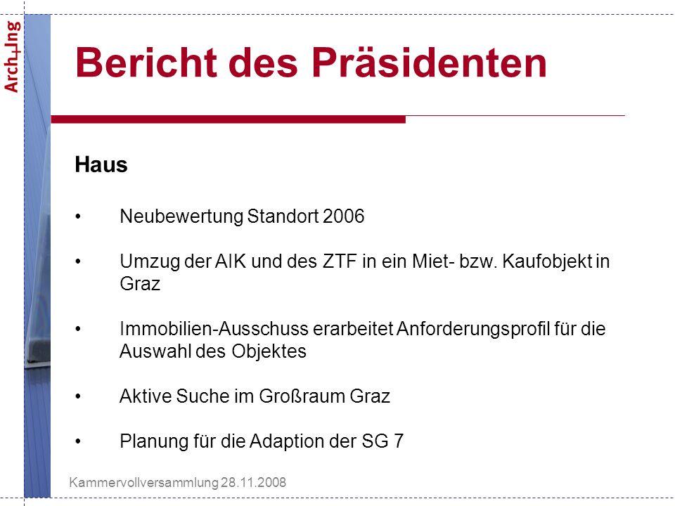 Kammervollversammlung 28.11.2008 Bericht des Präsidenten Haus Neubewertung Standort 2006 Umzug der AIK und des ZTF in ein Miet- bzw.