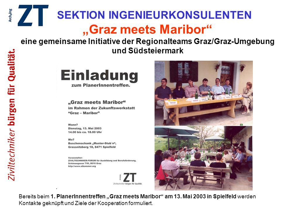 SEKTION INGENIEURKONSULENTEN Graz meets Maribor eine gemeinsame Initiative der Regionalteams Graz/Graz-Umgebung und Südsteiermark Bereits beim 1. Plan