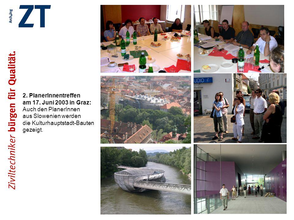2. PlanerInnentreffen am 17. Juni 2003 in Graz: Auch den PlanerInnen aus Slowenien werden die Kulturhauptstadt-Bauten gezeigt.