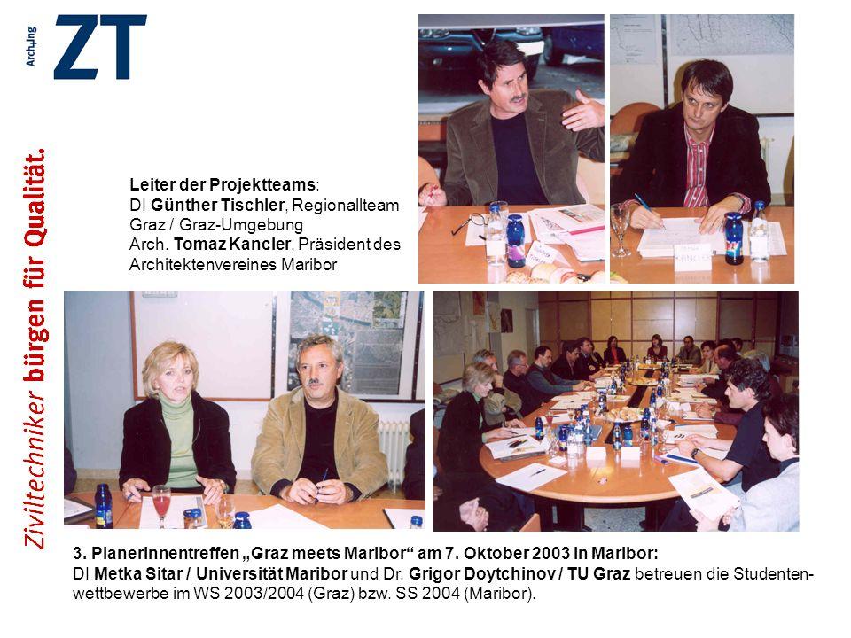 3. PlanerInnentreffen Graz meets Maribor am 7. Oktober 2003 in Maribor: DI Metka Sitar / Universität Maribor und Dr. Grigor Doytchinov / TU Graz betre